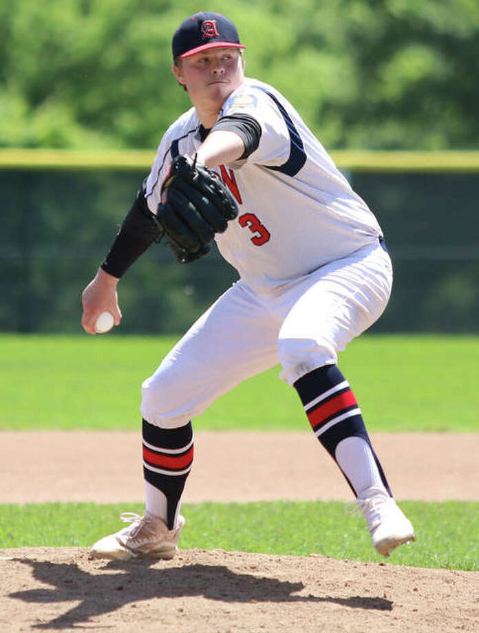 Alton pitcher Adam Stilts, shown in a May 30 start in Washington, Missouri, went the distance Saturday in Elsberry, Missouri, while hurling Alton to a 2-1 victory over Hannibal in the AAA Tourney. Photo: Greg Shashack / The Telegraph