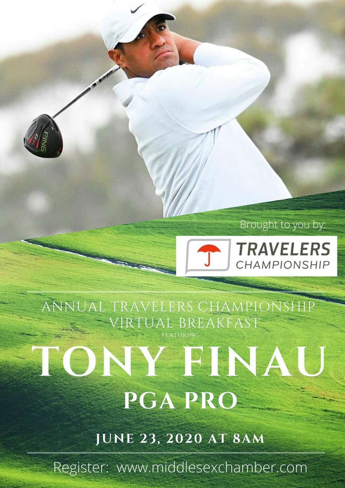 PGA professional Tony Finau is the guest for the Travelers Championship virtual breakfast scheduled for June 23.