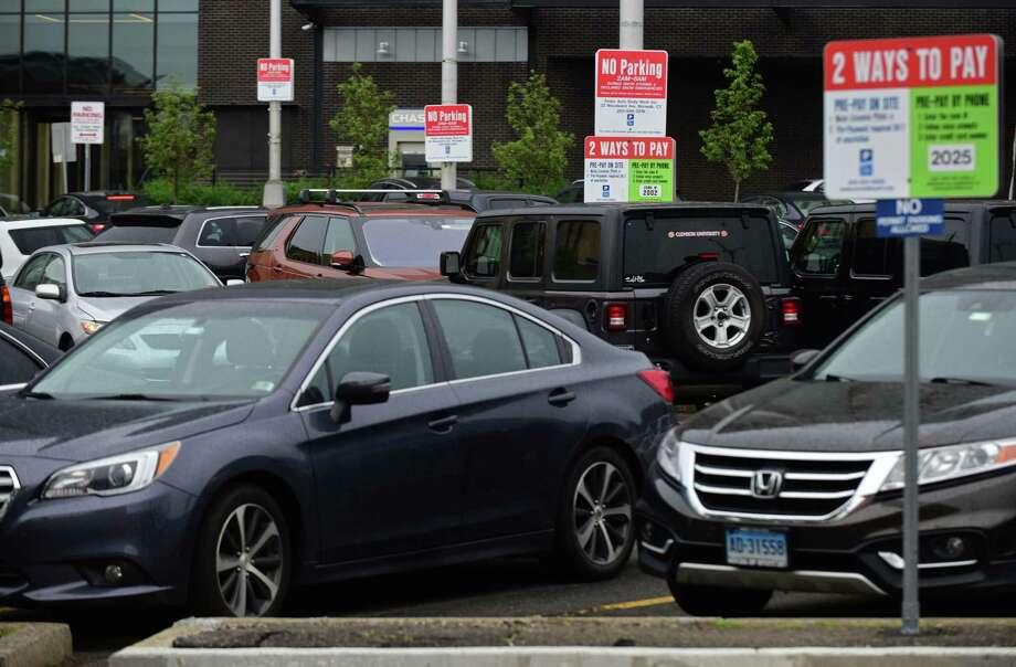 Cars parked in the Webtsre Street lt Wednesday June 3, 2020, in Norwalk, Conn. Photo: Erik Trautmann / Hearst Connecticut Media / Norwalk Hour