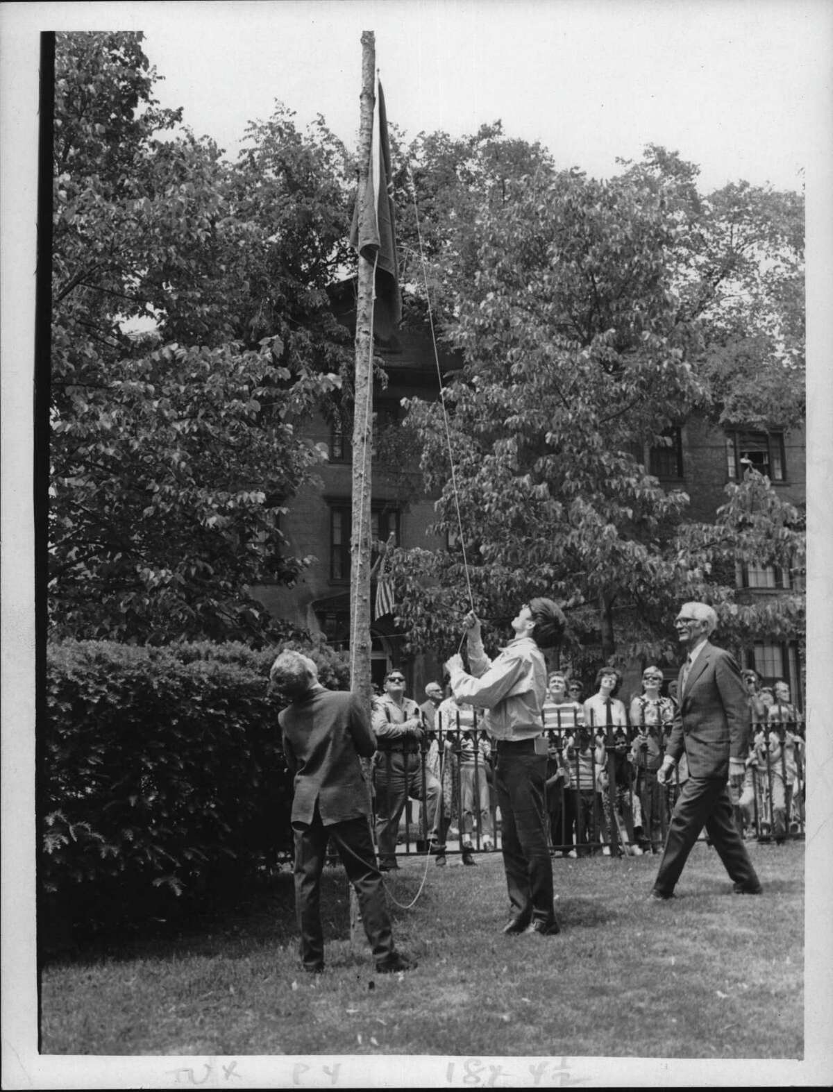 First Reformed Church, Schenectady, New York - Flag Day - replica of 1771 Liberty Flag - Jared Squires of Riverside School, Peter Van Vorst of Galway, and Horace Van Vorst of Schenectady. June 14, 1971 (Paul D. Kniskern, Sr./Times Union Archive)