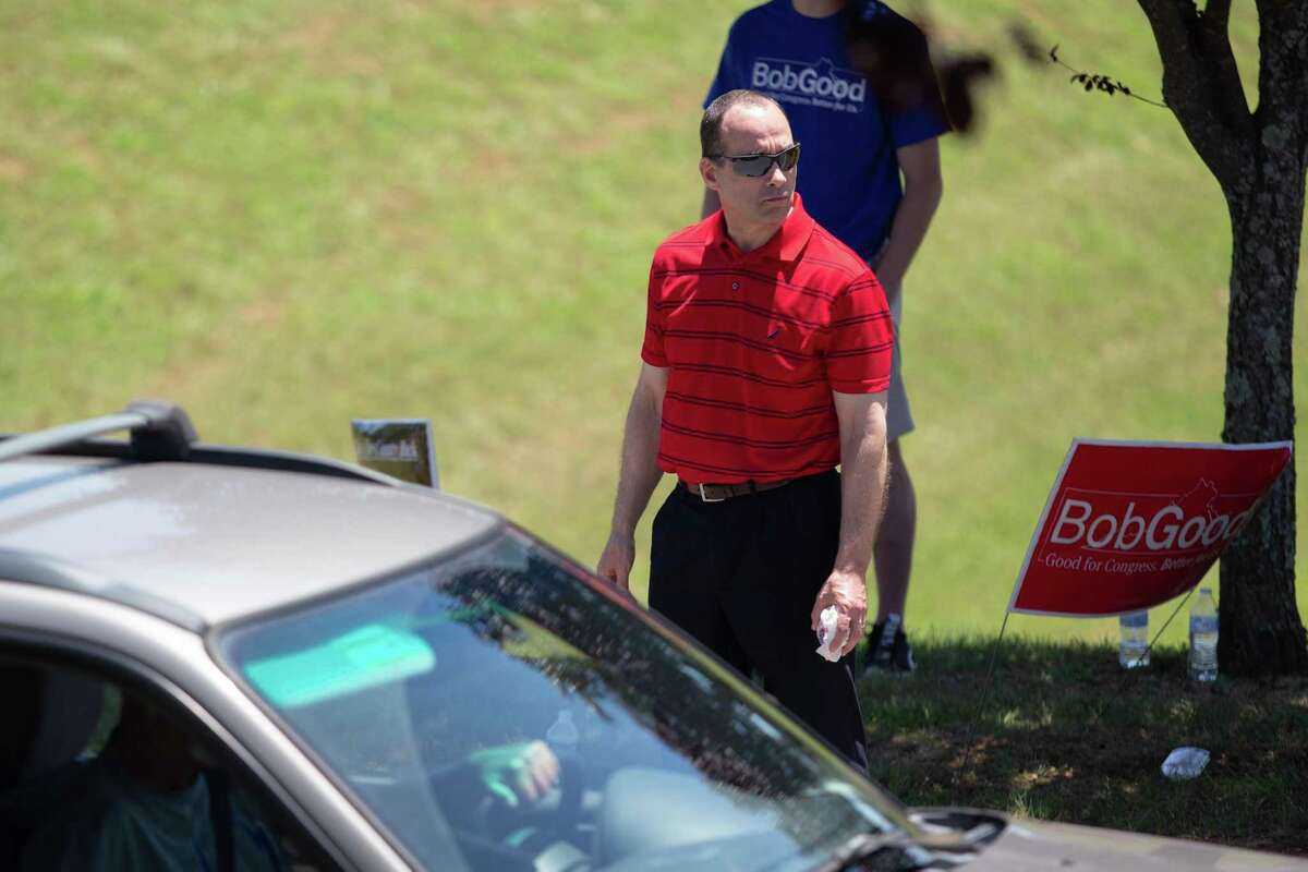Challenger Bob Good greets delegates at the GOP convention.