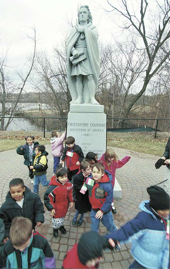 McDonough Elementary School Kindergartners from Angela Spaman's class visit the Christopher Columbus statue at Harbor Park during their field trip of Italian cultural sites in Middletown in 2001. On Saturday, June 13, 2020 it was removed.