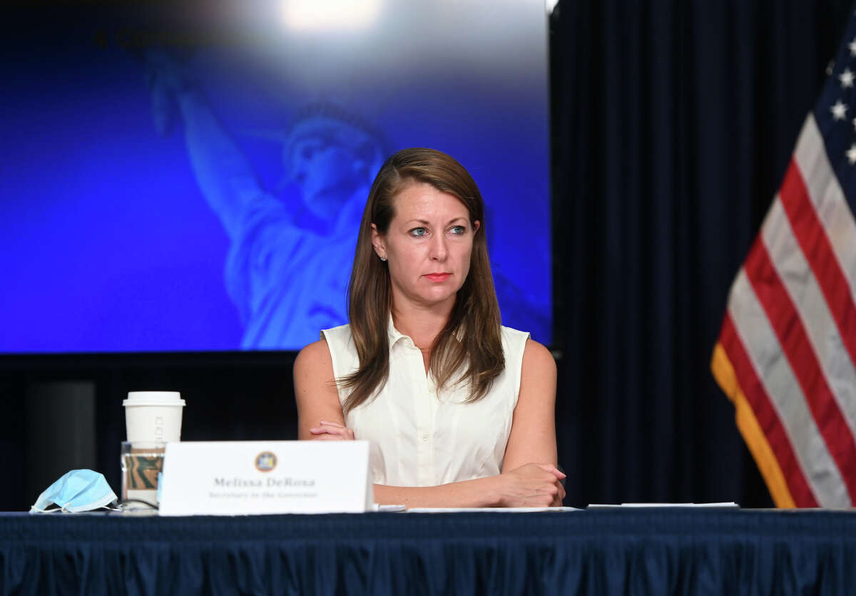 Secretary to the Governor Melissa DeRosa at a state briefing in New York City on June 8, 2020. (Kevin P. Coughlin / Office of Governor Andrew M. Cuomo)