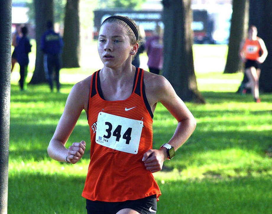 Edwardsville freshman Riley Knoyle runs in the Granite City Invitational last year. Photo: Intelligencer Sports Staff