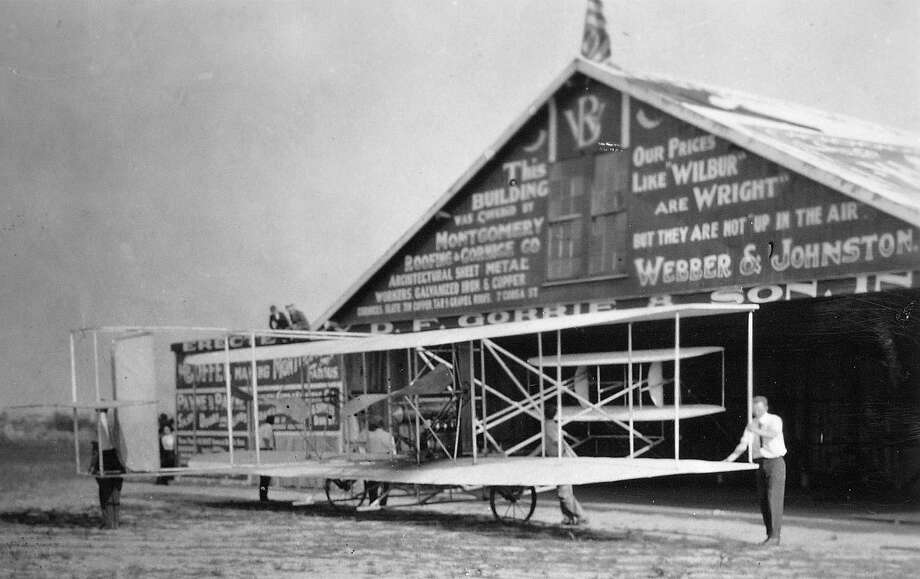 The Wright Brothers hangar, built in 1910 by businessmen for the Wright Flying school, was located on what is now Maxwell Air Force Base in Montgomery, Ala. About six years after making man's first flight on Dec. 17, 1903, the Wright Brothers came to Montgomery to train pilots and improve their flying machine. (AP Photo/Maxwell Air Force Base via the Montgomery Advertiser) Photo: AP Photo/Maxwell Air Force Base Via The Montgomery Advertiser