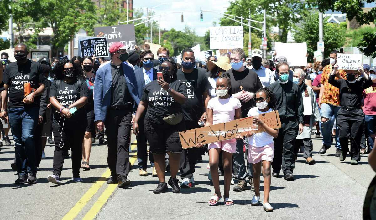 The Prayer, Protest & Peace March leaves from Varick Memorial AME Zion Church heading to the New Haven Green on June 14, 2020.