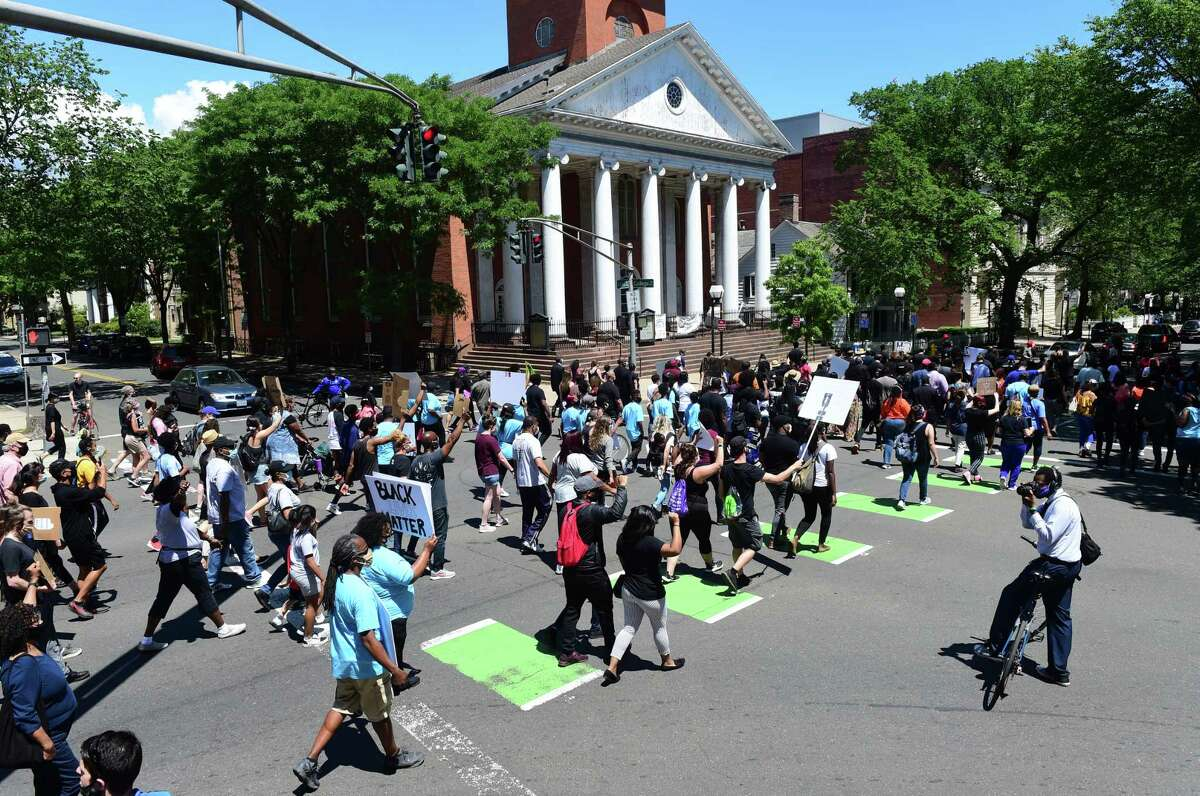 The Prayer, Protest & Peace March heads to the New Haven Green from Varick Memorial AME Zion Church on June 14, 2020.