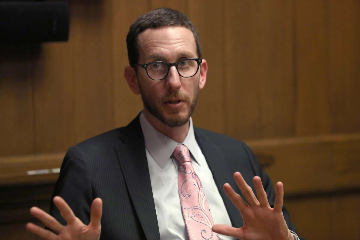 Senator Scott Wiener speaking with the editorial board at the Chronicle on Friday, Jan. 10, 2020, in San Francisco, Calif. Wiener is trying to revive a bill that would change how the sex offender registry treats gay relationships.