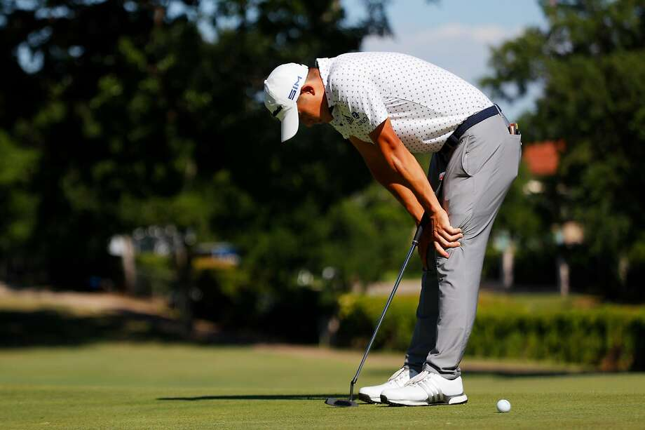Collin Morikawa reacts to his missed putt during a playoff on the 17th green in the final round of the Charles Schwab Challenge in Fort Worth, Texas. Photo: Ronald Martinez / Getty Images
