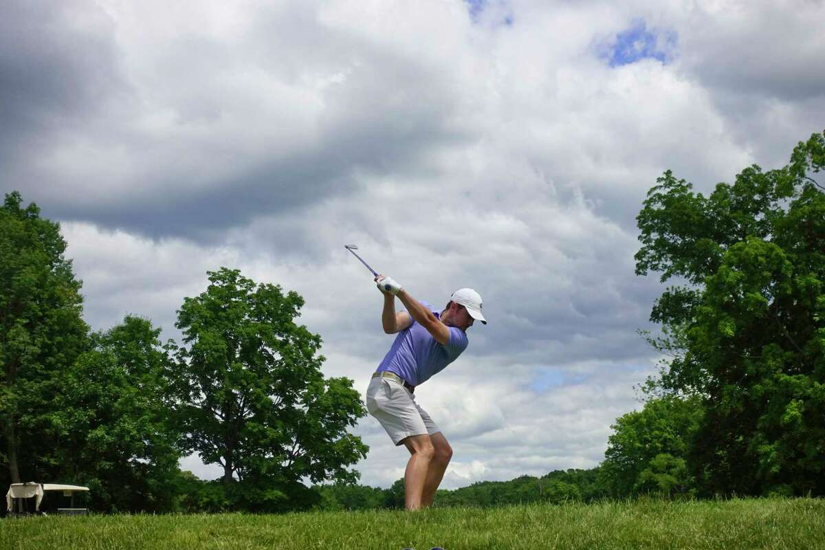 Taylor Bellemare swings back to hit off a tee during the Troy Invitational at the Country Club of Troy on Sunday, June 14, 2020, in Troy, N.Y. The Invitational is the only major amateur tournament to be held in the Capital Region so far this year. (Paul Buckowski/Times Union)