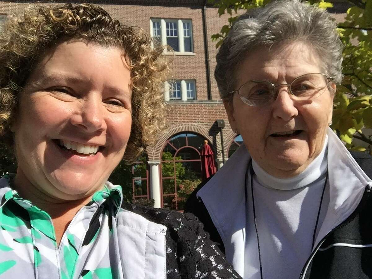 Sister Stella Marie Dillon, longtime teacher and coach at Catholic Central High School in Troy, takes her first selfie on her 80th birthday on October 7, 2015. ( Joyce Bassett / Times Union) ORG XMIT: tvaeebJp59kn51i3ic7W