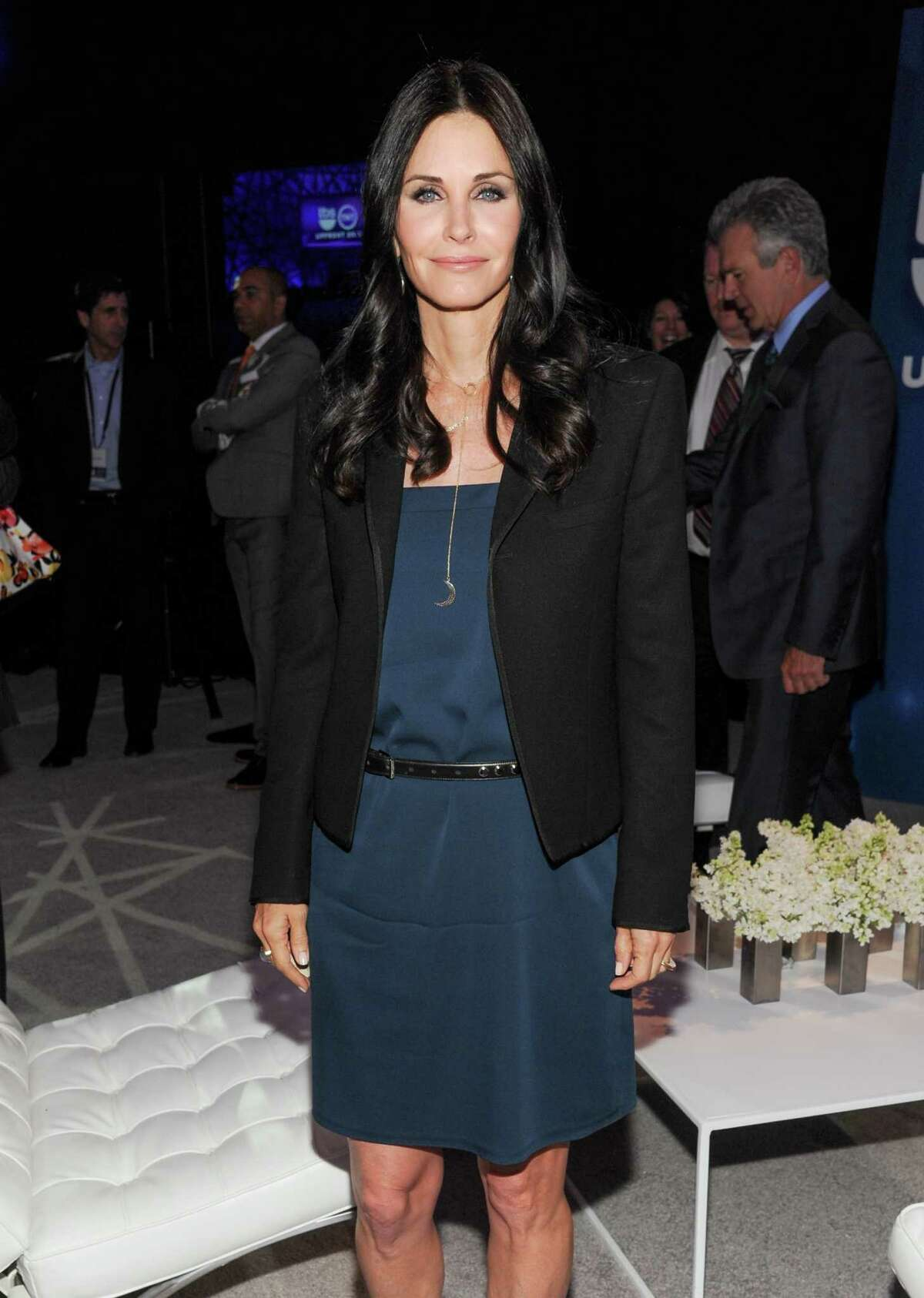 Actress Courteney Cox attends the TNT and TBS 2013 Upfront at the Hammerstein Ballroom on Wednesday, May 15, 2013 in New York. (Photo by Evan Agostini/Invision/AP)