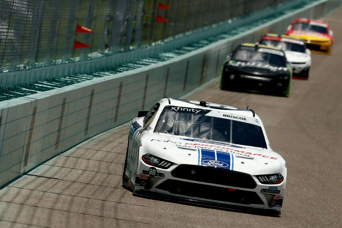 HOMESTEAD, FLORIDA - JUNE 14: Chase Briscoe, driver of the #98 Ford Performance Racing School Ford, leads a pack of cars during the NASCAR Xfinity Series Contender Boats 250 at Homestead-Miami Speedway on June 14, 2020 in Homestead, Florida. (Photo by Michael Reaves/Getty Images)