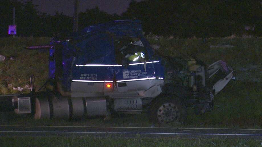 Authorities investigate a big rig crash along Interstate 10 East near Wade Road on Monday, June 15, 2020. Photo: OnScene.TV