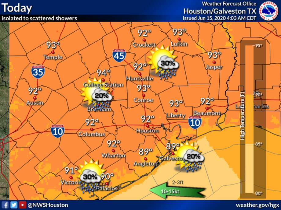Partly sunny skies and highs in the low 90s are expected in Houston on Monday, June 15, 2020. Photo: National Weather Service