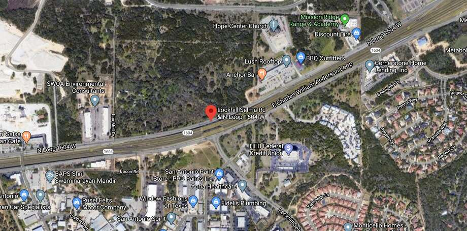 A San Antonio police officer was hospitalized after crashing her vehicle on the North Side early Monday morning. The Map shows the approximate location of the accident. Photo: Google Maps