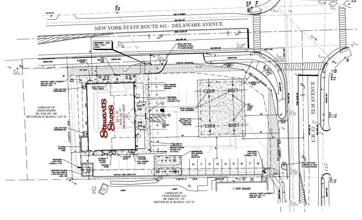 Stewart's Shops has submitted plans to the town of Bethlehem to raze the existing store and build a new, larger one with gas pumps.