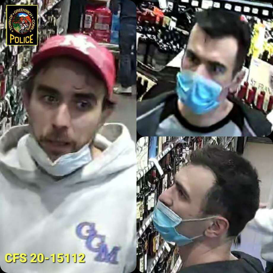 The Greenwich Police Department released these surveillance camera photos of two suspects in the theft of $700 worth of liquor from a store in Riverside. Photo: Contributed / Greenwich Police Department