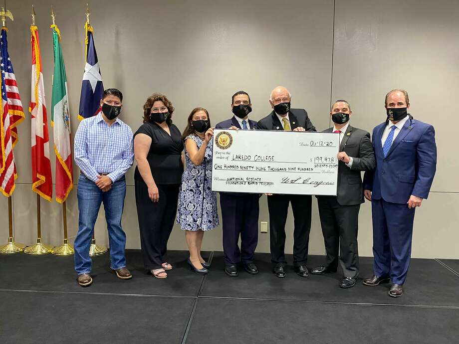 Laredo College President Dr. Ricardo J. Solis and Congressman Henry Cuellar announced a near $200,000 grant Friday from the National Science Foundation Rapid Program to conduct COVID-19 research. Photo: Courtesy Of Laredo College