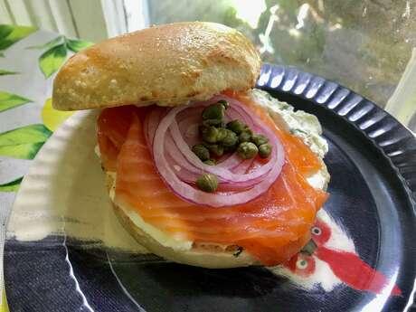 Classic Nova salmon bagel from Golden Bagels