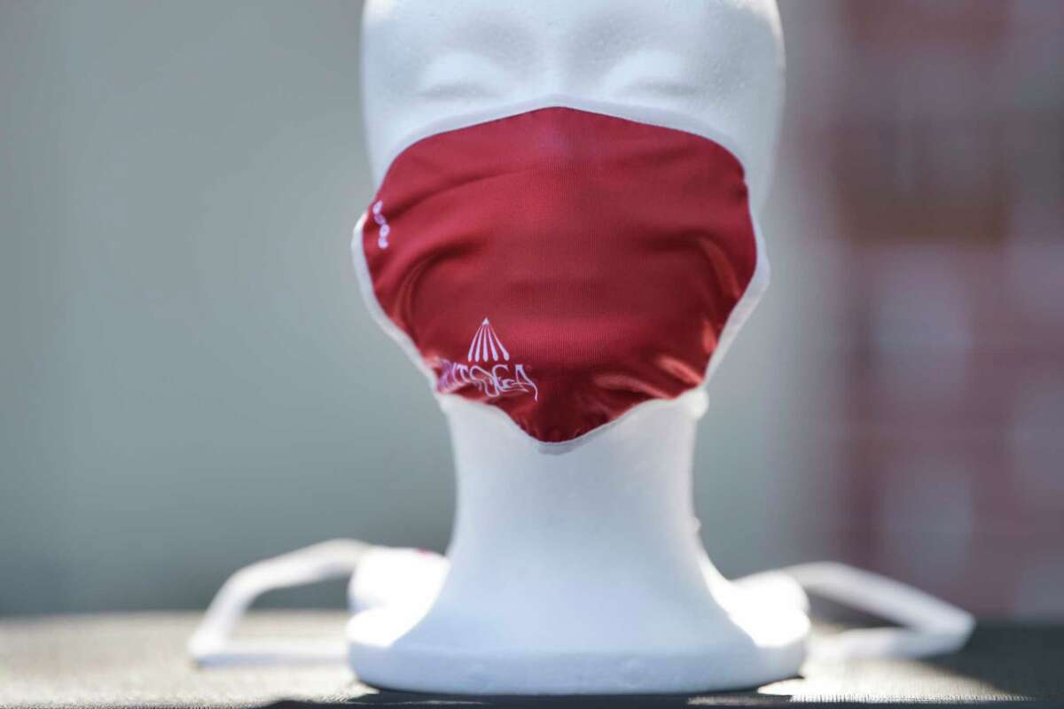A view of the Saratoga branded face masks that will be for sale and a portion of proceeds will go to Franklin Community Center and the Shelters of Saratoga. This is a joint initiative between NYRA and the City of Saratoga Springs. (Paul Buckowski/Times Union)