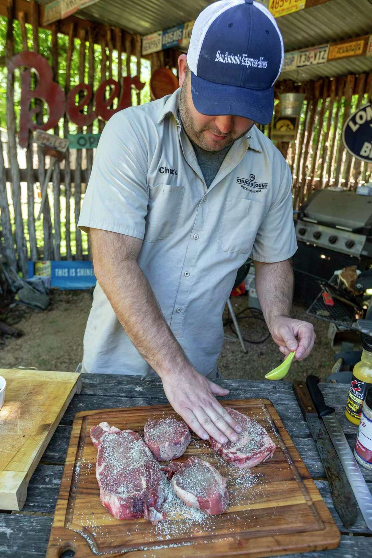 Chuck Blount seasons select, choice and prime steaks at his Food Shack with an equal mixture of salt and pepper.