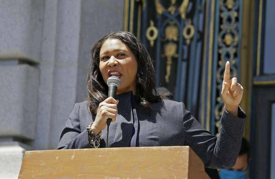 In this photo taken June 1, 2020, San Francisco Mayor London Breed speaks to a group protesting police racism outside City Hall in San Francisco. Photo: Eric Risberg / Associated Press
