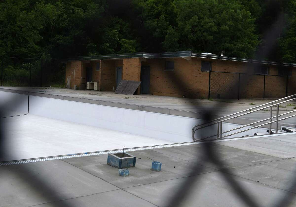 The South Troy Pool is empty after undergoing extensive repairs on Monday, June 15, 2020, in Troy, N.Y. (Will Waldron/Times Union)