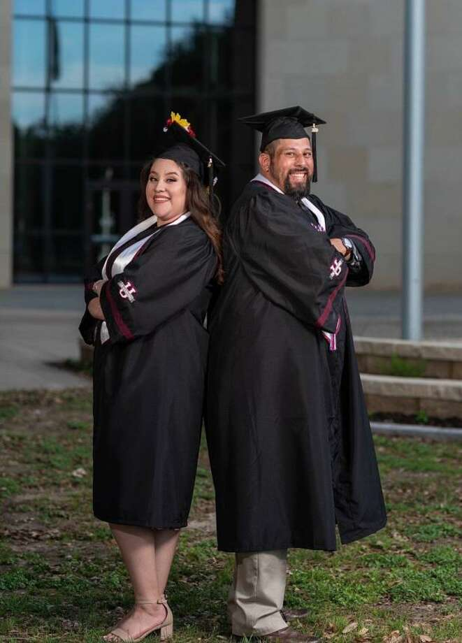 Amanda and Ricardo Quijano, a daughter and father, graduated from TAMIU together this year. Both were also history majors. Photo: Courtesy Photo