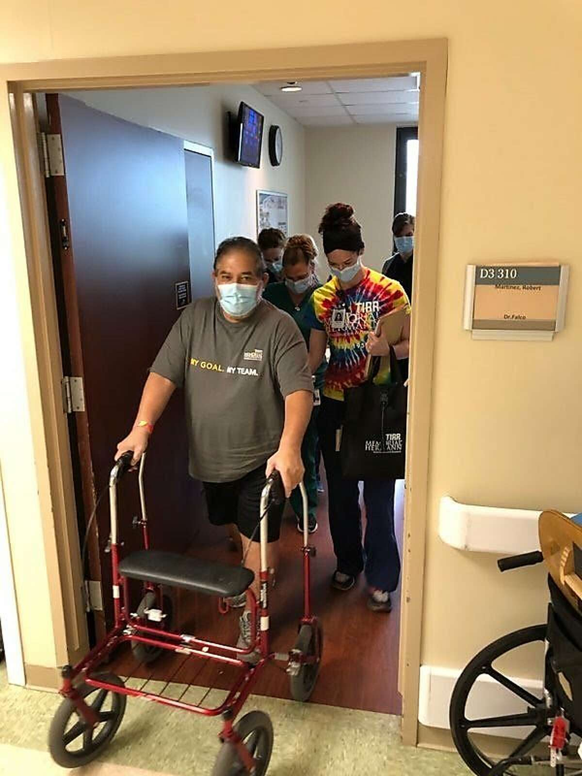 Robert Martinez, 62, was discharged from TIRR Memorial Hermann's COVID-19 rehabilitation program on May 14, 2020.