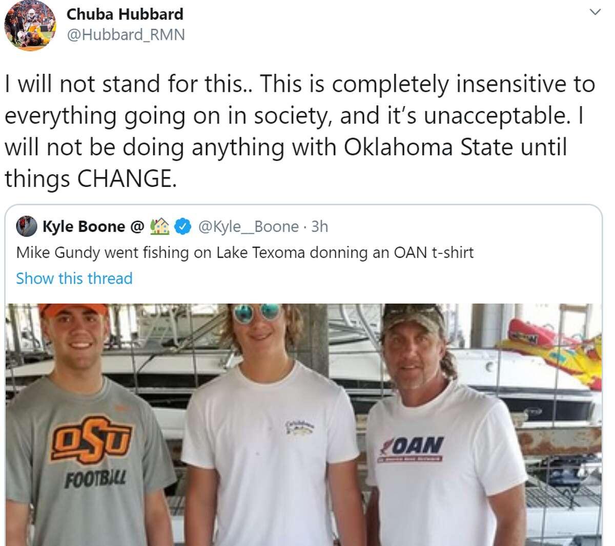 Oklahoma State running back Chuba Hubbard's reaction to coach Mike Gundy's OAN shirt.