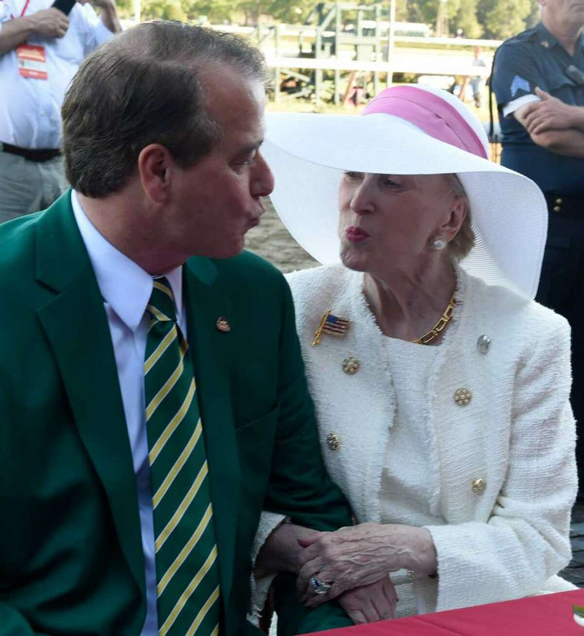 John Hendrickson and Marylou Whitney at the Saratoga Race Course.