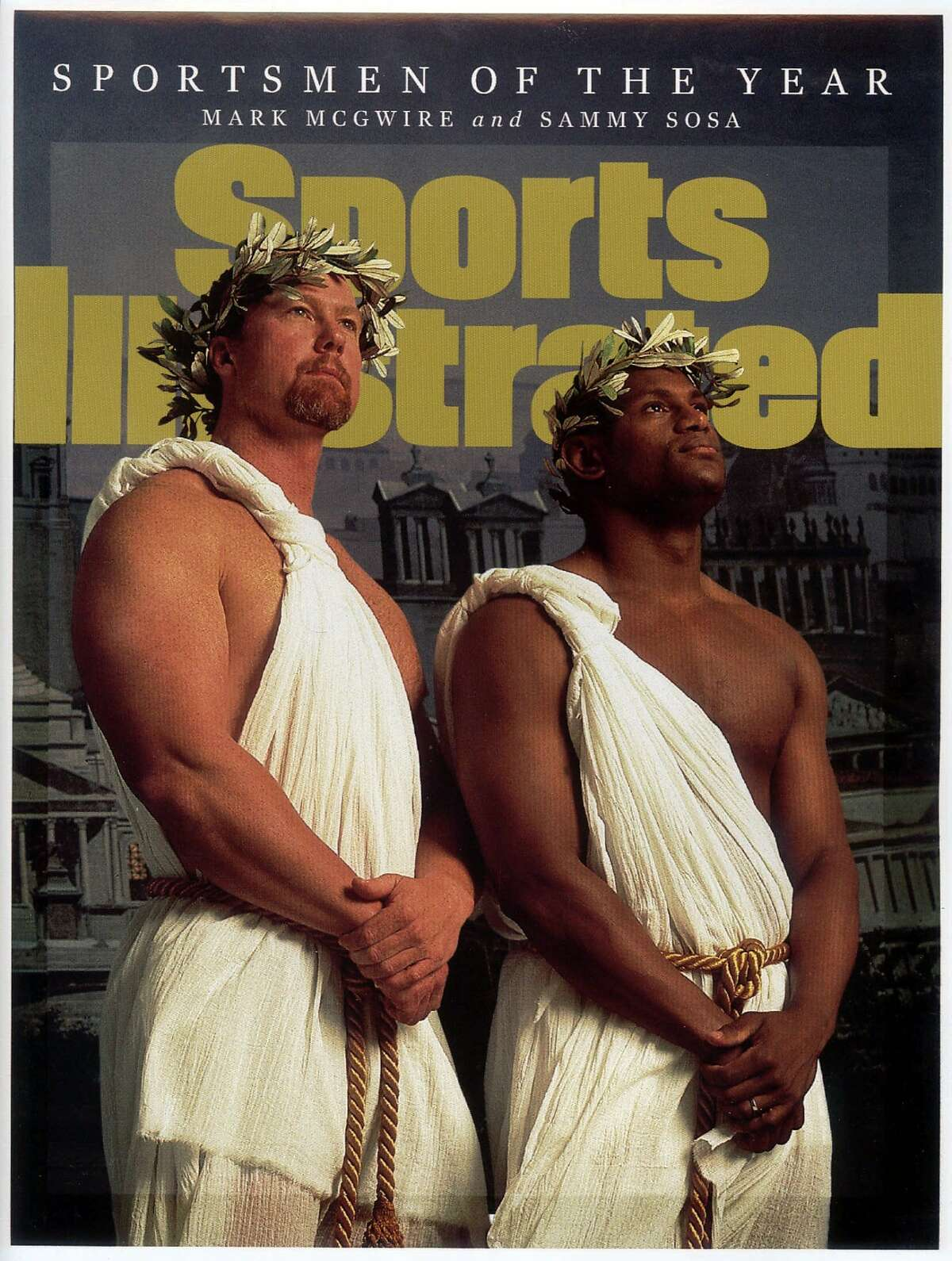 This is the cover of the upcoming Dec. 21, 1998 issue of Sports Illustrated featuring the 1998 Sports Illustrated Sportsmen of the Year Mark McGwire and Sammy Sosa. (AP Photo/Sports Illustrated)