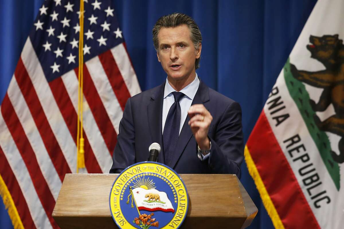 California Gov. Gavin Newsom discusses his revised 2020-2021 state budget during a news conference in Sacramento, Calif., May 14, 2020.