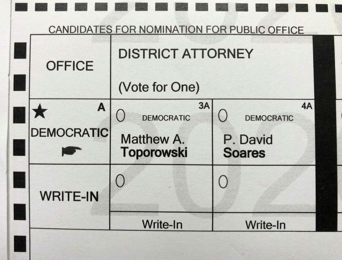A sample ballot showing candidates in the upcoming Democratic primary for the Albany County District Attorney is posted at the Bethlehem Lutheran Church polling site on Monday, June 15, 2020, on Elm Avenue in Bethlehem, N.Y. Early voting began Saturday and runs through Sunday, June 21, ahead of the June 23 Election Day. (Will Waldron/Times Union)