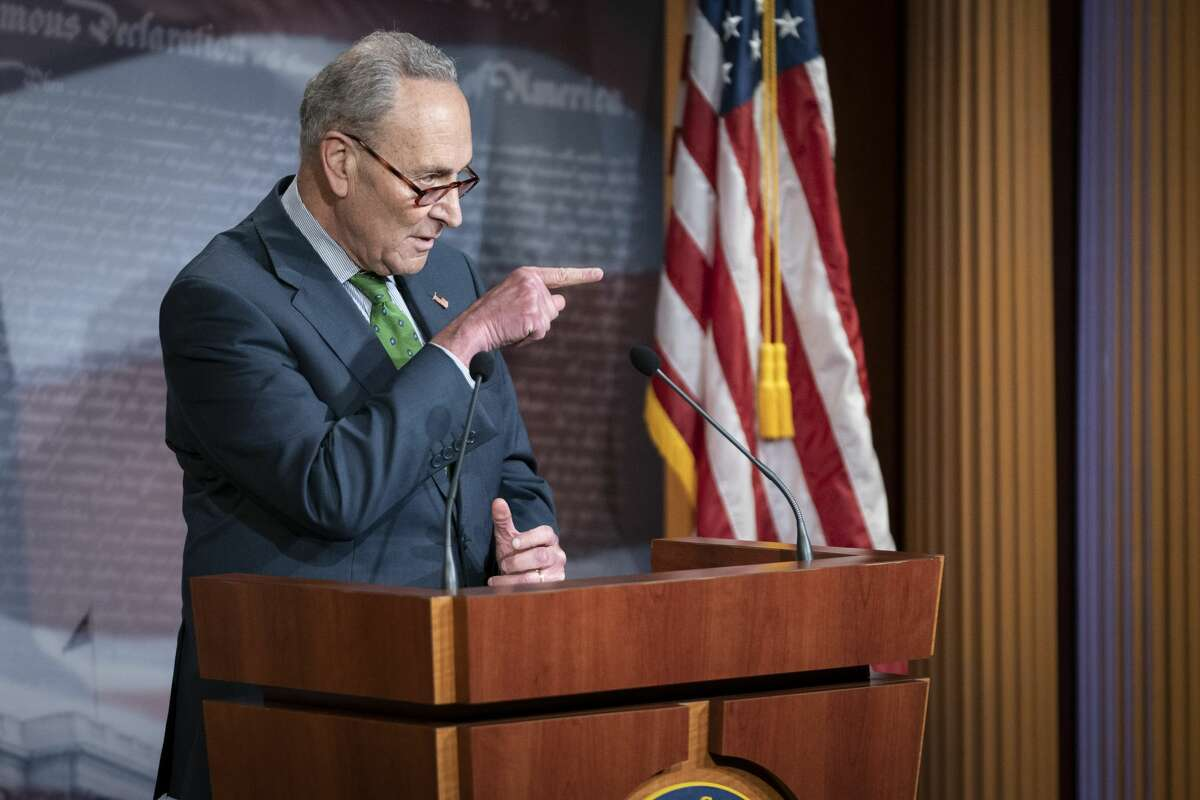 Senate Minority Leader Chuck Schumer, a Democrat from New York, speaks during a news conference on Capitol Hill in Washington, D.C., U.S., on Tuesday, June 9, 2020. Senate Democrats formally request an investigation into theTrumpadministration's effort to obtain and distribute personal protective equipment and other medical supplies to fight the coronavirus pandemic. Photographer: Sarah Silbiger/Bloomberg