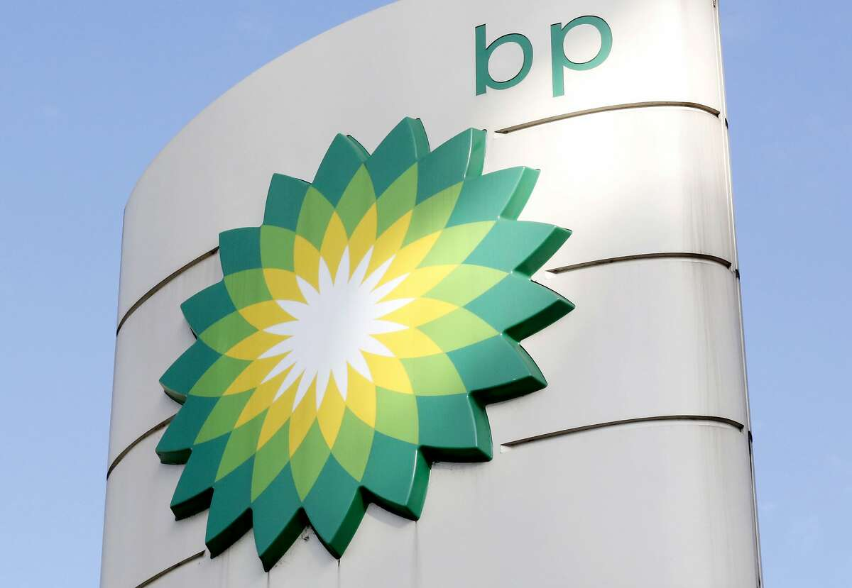 FILE - This Tuesday, Aug. 1, 2017 file photo shows the BP logo at a petrol station in London.