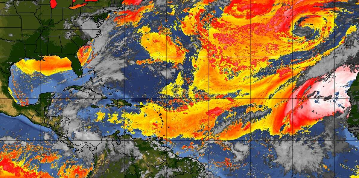 The NOAA's GOES satellite shows Saharan dust, the red-to-pink area on the right, off the coast of Africa.