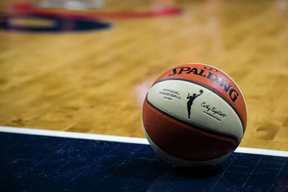 WASHINGTON, DC - OCTOBER 01: A view of the official WNBA Spalding basketball during the second half of Game Two of the 2019 WNBA finals between the Washington Mystics and the Connecticut Sun at St Elizabeths East Entertainment & Sports Arena on October 1, 2019 in Washington, DC. NOTE TO USER: User expressly acknowledges and agrees that, by downloading and or using this photograph, User is consenting to the terms and conditions of the Getty Images License Agreement. (Photo by Scott Taetsch/Getty Images) Photo: Scott Taetsch / Getty Images / 2019 Getty Images 2019 Getty Images