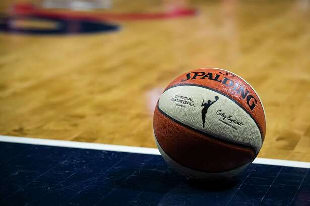 WASHINGTON, DC - OCTOBER 01: A view of the official WNBA Spalding basketball during the second half of Game Two of the 2019 WNBA finals between the Washington Mystics and the Connecticut Sun at St Elizabeths East Entertainment & Sports Arena on October 1, 2019 in Washington, DC. NOTE TO USER: User expressly acknowledges and agrees that, by downloading and or using this photograph, User is consenting to the terms and conditions of the Getty Images License Agreement. (Photo by Scott Taetsch/Getty Images)