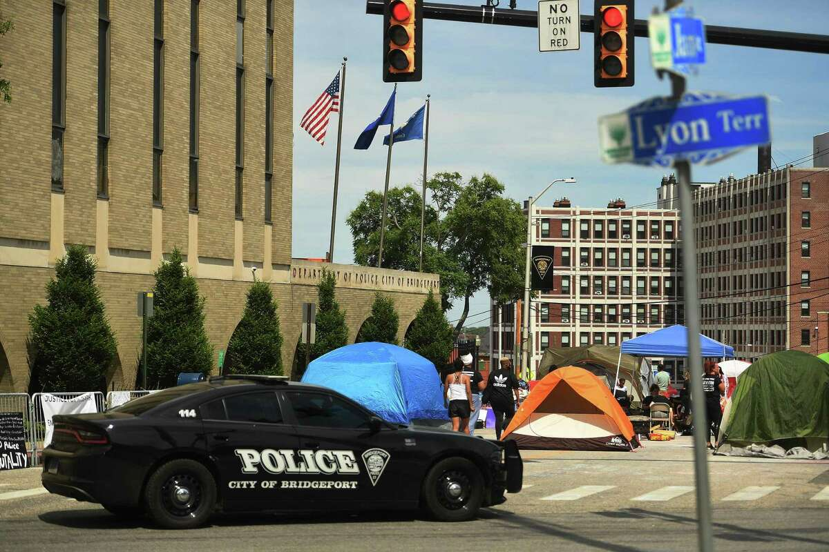 Protesters, photographed here on Monday, June 15, have been camped outside police headquarters in Bridgeport, Conn., since Saturday, June 13, 2020.