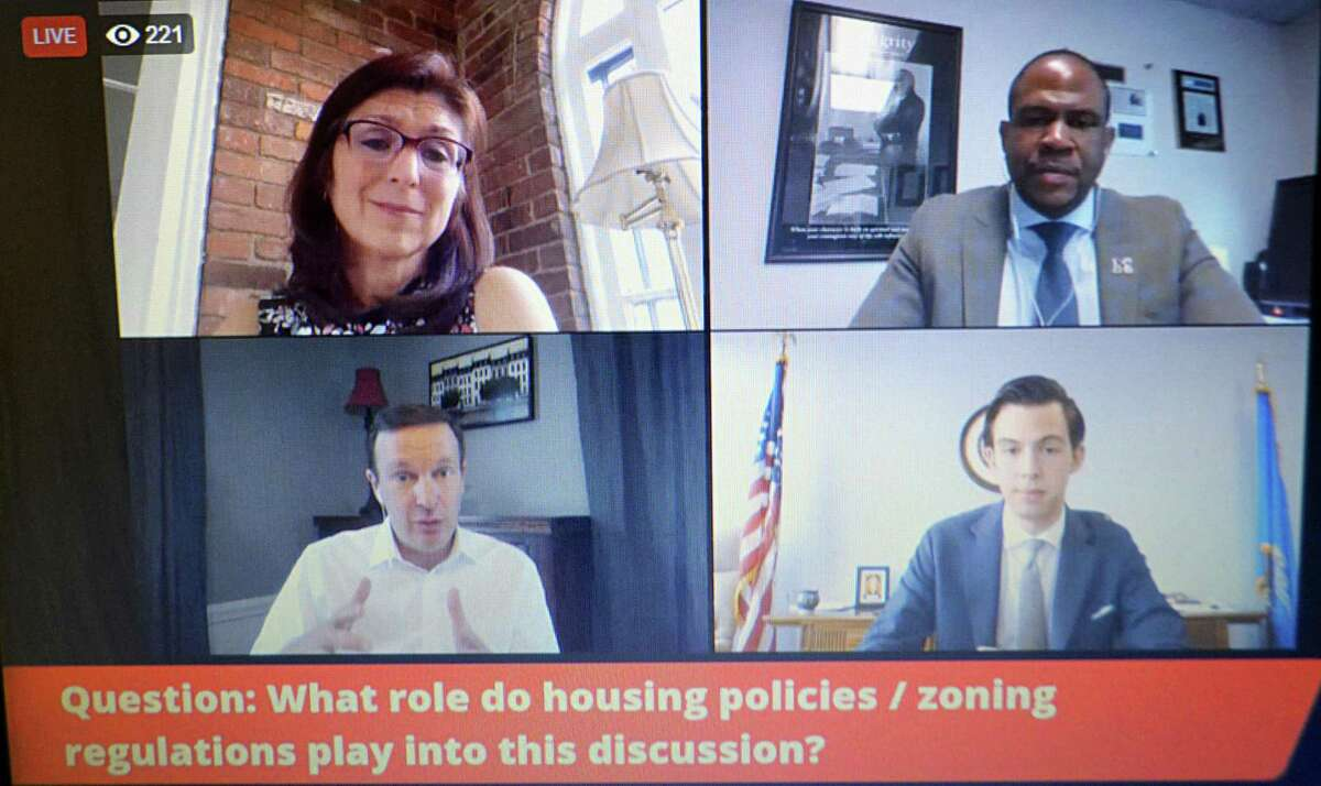 Counterclockwise from top left, Middletown's Keigwin Middle School Principal Silvia Mayo Molina, Superintendent of Schools Michael Conner, Mayor Ben Florsheim, and U.S. Sen. Chris Murphy, D-Connecticut, speak about racial justice and desegregation of city schools Monday afternoon via Facebook Live.
