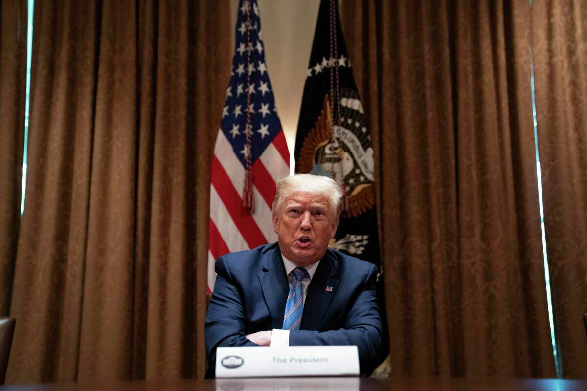 President Donald Trump speaks during a roundtable about America's seniors, in the Cabinet Room of the White House, Monday, June 15, 2020, in Washington. (AP Photo/Evan Vucci)