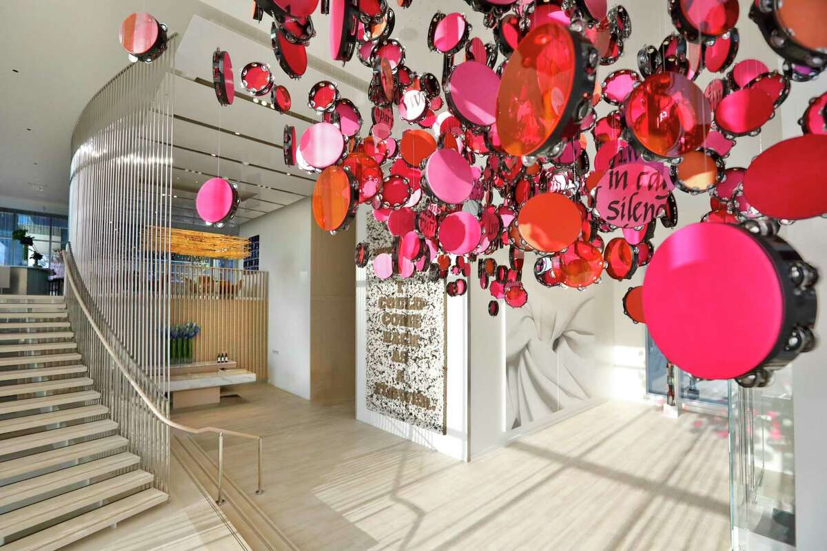 The lobby of the Hall Arts Hotel in the Dallas Arts District is filled with contemporary artworks from the collection of the owners.