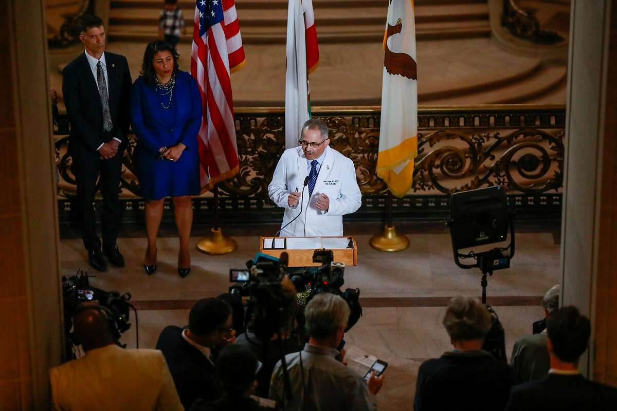 San Francisco Public Health Officer Dr. Tomás Aragón announces a state of emergency, due to the coronavirus outbreak, at City Hall on Feb. 25. On Monday, Gov. Gavin Newsom appointed Aragón to be head of the California Department of Public Health.