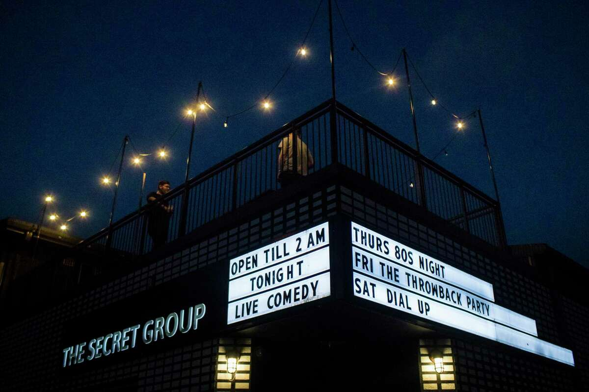 The Secret Group marquee lit up, Thursday, May 31, 2018, in Houston announcing a live comedy show. ( Marie D. De Jesus / Houston Chronicle )