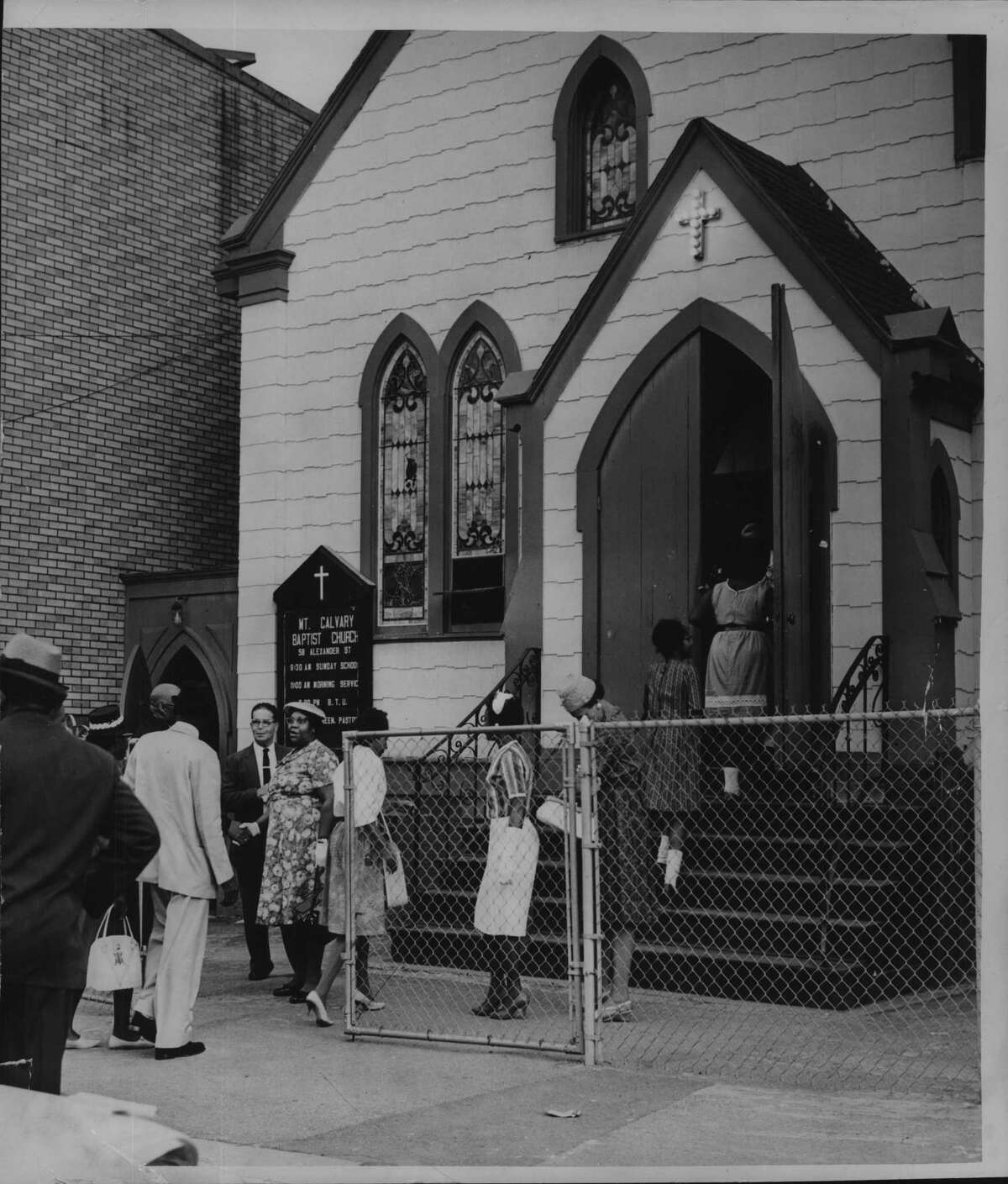 Churchgoers gather outside Mount Calvary Baptist Church, on Alexander Street in Albany's South End, on June 16, 1962. (Times Union Archive)