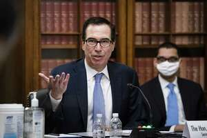 Steven Mnuchin, U.S. Treasury secretary, speaks during a Senate Small Business and Entrepreneurship Committee hearing in Washington, D.C., U.S., on Wednesday, June 10, 2020. The hearing examines the government's virus relief package that offers emergency assistance to small businesses. Photographer: Al Drago/Bloomberg