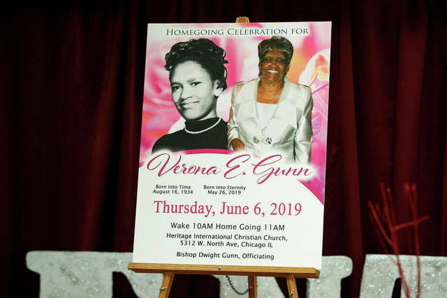 A poster shows Verona Gunn, an 84-year-old woman who died in May when two Chicago Police vehicles slammed into a car in which she was riding. Photo: Teresa Crawford | AP