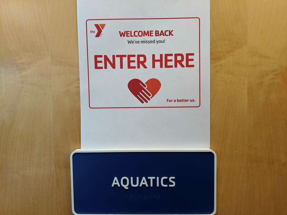 The Darien YMCA will reopen June 17. A welcome back sign from the Aquatics department. Photo: Darien YMCA